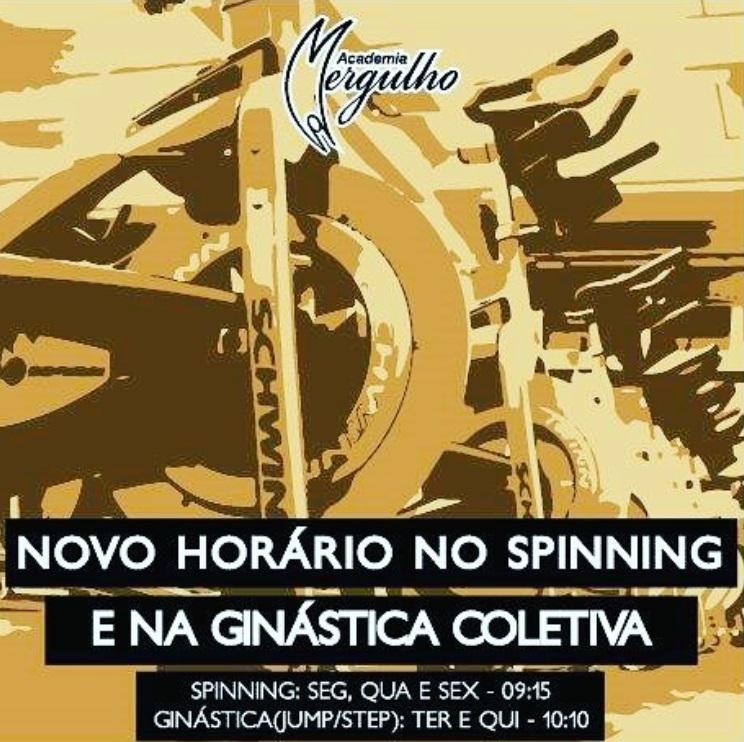 NOVO HORARIO SPINNING E GINASTICA JUMP STEP ACADEMIA MERGULHO BH BARREIRO AGOSTO 2017