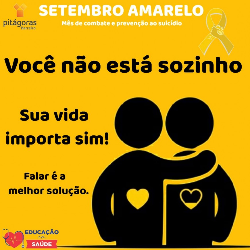 SETEMBRO AMARELO PITAGORAS ACADEMIA MERGULHO BARREIRO BH SETEMBRO 2020